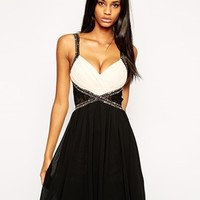 Little Mistress Lace Insert Embellished Prom Dress with Plunge Neck