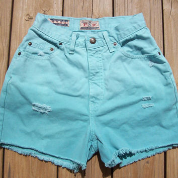 High Waisted Teal Dip Dyed Distressed Shorts Size by DenimAndStuds