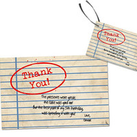 Library Thank You Cards - Book Party Tags - Library Birthday Thank You Card - Antique Library Baby Shower Thank You Tags - Vintage Book Worm