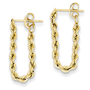 14K Hollow Rope Earrings TH553