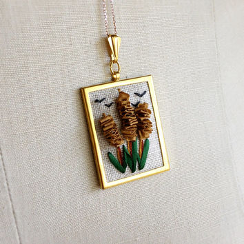 Silk Ribbon Embroidery Embroidered Necklace Cattail Plant Typha Birds Pendant