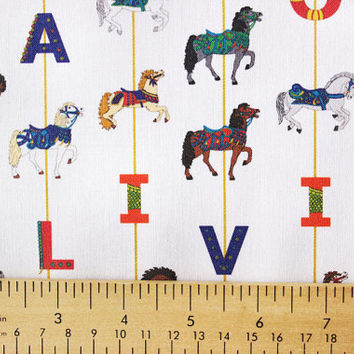 Personalized Rainbow Carousel Horse Child's Fabric for making quilts , throw pillows , curtains , and other nursery or kids decor