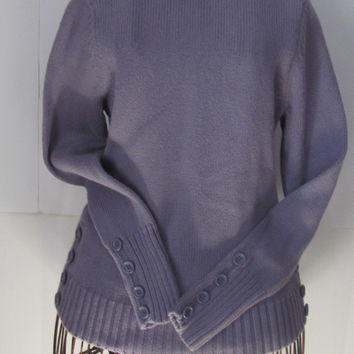 Classic Purple Ann Taylor Loft Sweater women sz XS Turtle Neck Sweater Button Cuffs and Waist