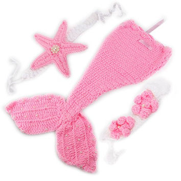 Mermaid Style Baby Hand Knitted Crochet Costume Baby Photograph Props Set