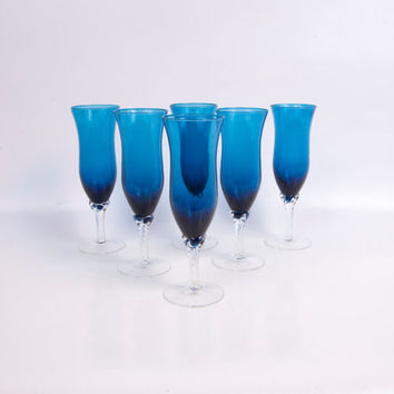 Vintage Champagne Flutes Turquoise Glass Italian Art Glass Twisted Stems Blue Barware Set of 6