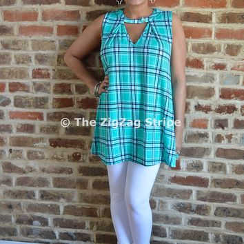 Plaid Button Tunic