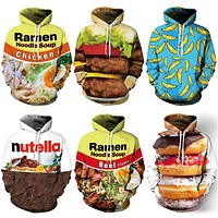 2018 New 016 Ramen Nutella Donut Hambourg Beer Printed Women Hoodie Hooded Femme Sweatshirt Casual Loose Men Pocket Hoodies Coat