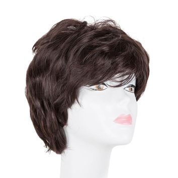 Mama's Wig Fei-Show Synthetic Short Wavy Dark Brown Hair Heat Resistant Fiber Male/Female Peruca Perruque Women Hairpiece Toupee