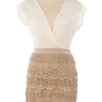 Tan Color Texture Design Dress