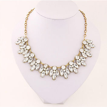 2015 New Women Statement Necklace Link Chain Necklace Fashion Choker Necklace Rhinestone Wheat pendants Jewelry Trends For Gift
