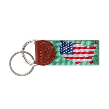 USA Map Needlepoint Key Fob in Mint by Smathers & Branson