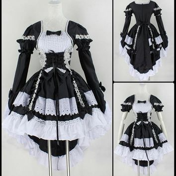 New Fashion Gothic Maid Cosplay Costume Anime Halloween Party Ball Gown Vintage Bowknot Dresses Women Lolita Dress Free Ship