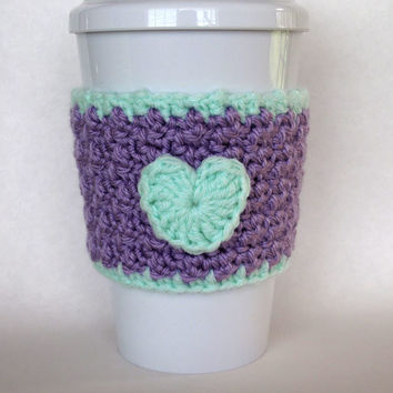 Crochet Heart Coffee Cup Cozy in Lilac and Pastel Green