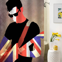 Alex Turner guitar shower curtain special custom shower curtains that will make your bathroom adorable