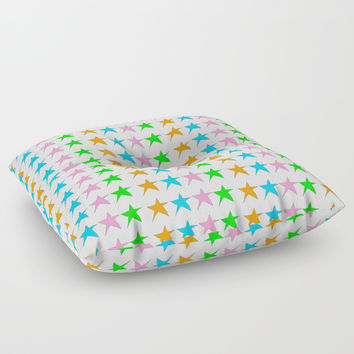 multicolor stars-sky,light,rays,hope,pointed,mystical,estrella,nature,spangled,girly,gentle,star,sun Floor Pillow by oldking