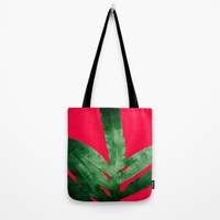 Green Fern on Bright Red Tote Bag by ANoelleJay