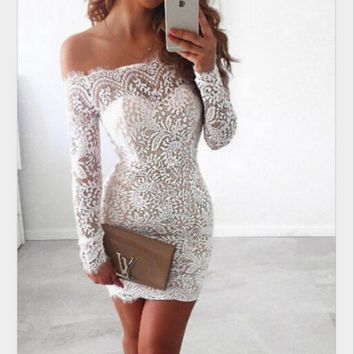 Fashion sexy off shoulder long sleeve show thin dress