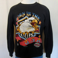 Vintage Rare 1987 HARLEY DAVIDSON Motorcycle Born In The USA Graphic Soft Medium 50/50 Crewneck Sweatshirt
