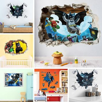Batman Dark Knight gift Christmas Batman Super Heros Broken Window Lego Wall Stickers For Nursery Kids Room Decoration Movie 3D Mural PVC Cartoon Decorative Decal AT_71_6