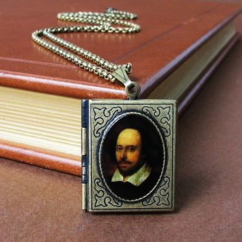 Sir William Shakespeare  Book Locket Necklace  by HeartworksByLori