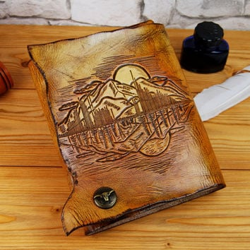 """Custom 7""""x9"""" Personalized Gift Leather Journal Notebook Diary Brown Leather Soundwave Journal Gift for Him Gift for Her TiVergy Book"""