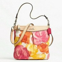 Coach Ashley Floral Print Crossbody Hippie Purse Bag $298 MSRP Style 21861