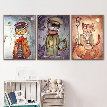 Vintag Smoking Mr Cat Nordic Posters And Prints Wall Art Canvas Painting Wall Pictures For Living Room Kids Bedroom Home Decor