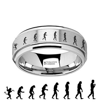 Human Evolution Engraved - Spinning Tungsten Ring - Laser Engraved - Tungsten Carbide Wedding Band - 8mm