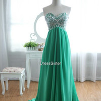 Green Prom Dress - Long Prom Dress / Cheap Prom Dresses / Green Party Dress / Long Wedding Guest Dress / Long Evening Dress