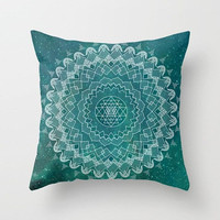 Mandala Throw Pillow, teal and white, home decor, boho cushions