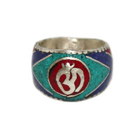 Om center coral yoga healing ring