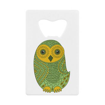 Green Mystic Owl Credit Card Bottle Opener