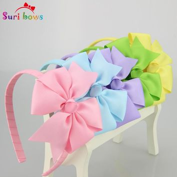 5 pcs/lot Suri bows 30 colors Girls Hair bands Cute Grosgrain Ribbon Bow Girls Hairbands Hair Accessories for Girls FS010