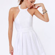 Floating on Flare White Halter Dress