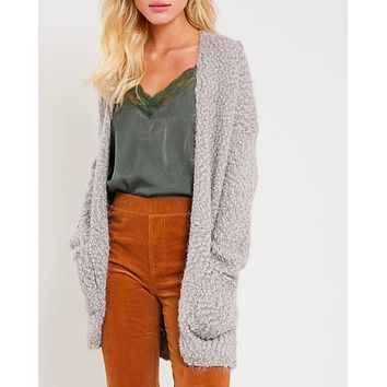 fuzzy knit sweater open-front cardigan in more colors
