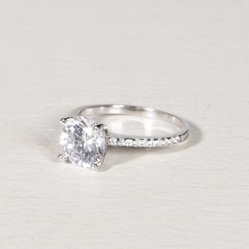 Solitaire Sterling Silver Ring