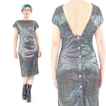 80s Hologram Bodycon Dress Metallic Sexy Wiggle Dress Black Knee Length Short Sleeves Cocktail Party Dress Button Down Low Back Dress (M)