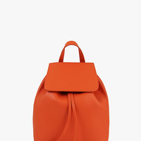 Orange Leather Large Bucket Backpack