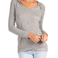 Hooded Long Sleeve Raglan Top - Gray - Gray /