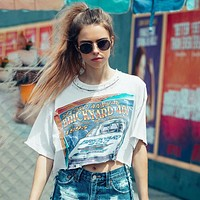 Women Personality Hollow Pin Collar Letter Pattern Print Loose Short Sleeve T-shirt Crop Tops