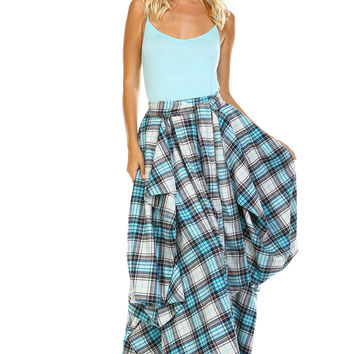 Blue Plaid Pleated Gore Skirt