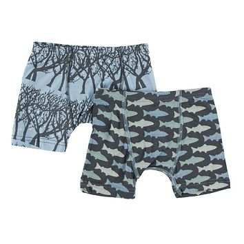 Kickee Pants Boys Boxer Briefs Set (Pond Fireflies & Stone Trout