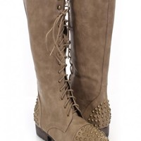 Stone Faux Leather Studded Mid Calf Boots