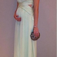 Wrapped Flowing Chiffon Long Maternity Formal Evening Dresses