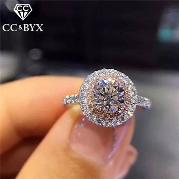 CC S925 Silver Wedding Rings For Women Charms Queen Princess Ring Round Pink Stone Bridal Engagement Jewelry CC593