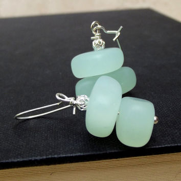 Seafoam Sea Glass Earrings:  Mint Green and Silver Beach Jewelry, Opaque Aqua Pierced Dangle Earrings