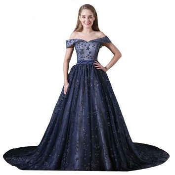 Long Evening Dark Blue Lace Dress Lace Embroidery Party Ball Gown