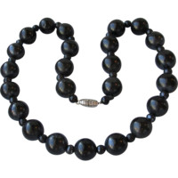 Chunky Vintage 1930's Art Deco Big 12mm Black Onyx Bead Necklace