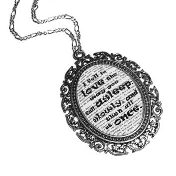 I fell in love the way you fall asleep: slowly, and then all at once'' Quote 'The Fault in Our Stars' John Green Pendant Necklace Jewelry