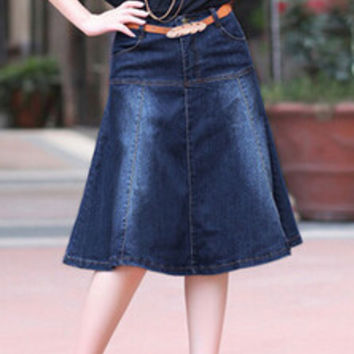 New Arrival Plus Size XS to 5XL Blue Jeans Pockets Pleated Skirt Fashion Ladies A-line High Waist Knee-Length Skirts for Girls